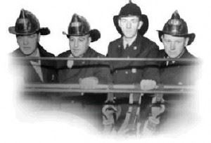 Black and white photo of fire fighters