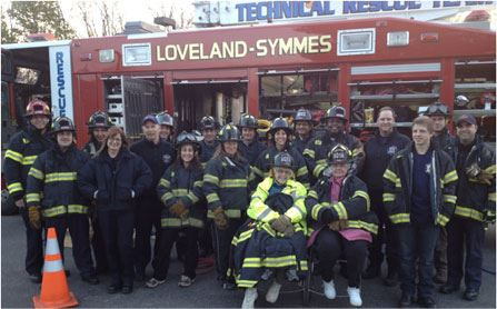 Citizens Fire Academy - Participants and ESU members pose for photo during rescue training