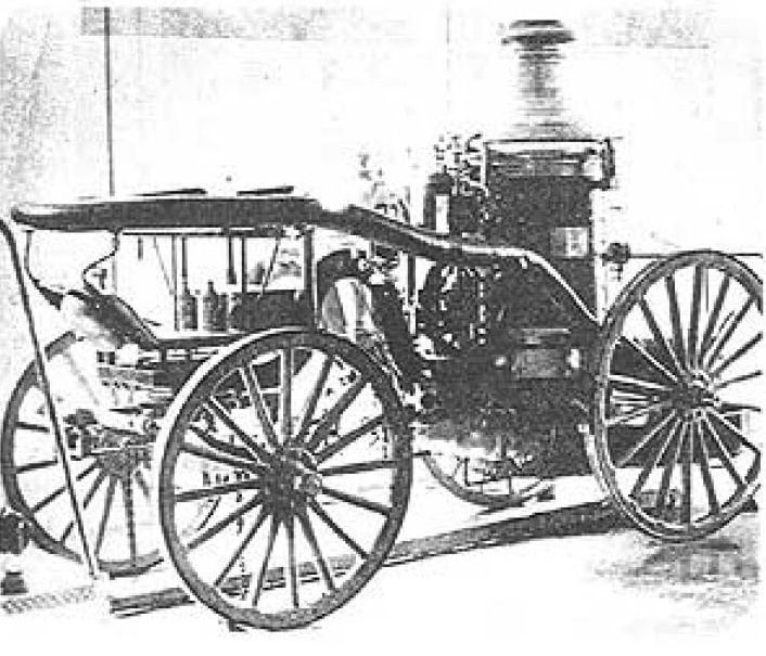 Black and white photo of fire department equipment