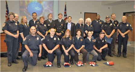 2012 Fire Academy Graduates with ESU members during graduation ceremony